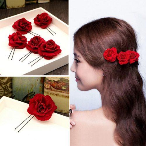 סיכות שיער בצורת ורד אדום (6 סיכות)