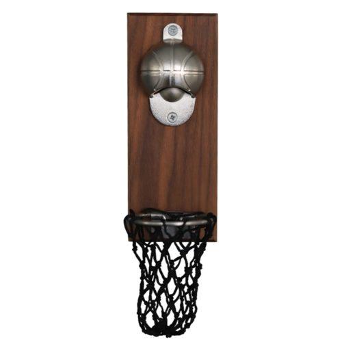 פותחן בקבוקים לקיר בצורת כדורסל עם סל לאיסוף פקקים
