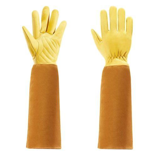 כפפות עור ארוכות המכסות גם את הזרועות