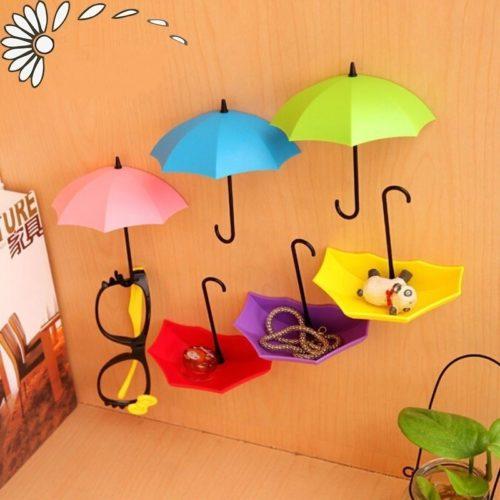 3 מתלים קטנים לבית בצורת מטריות למפתחות וחפצים שונים