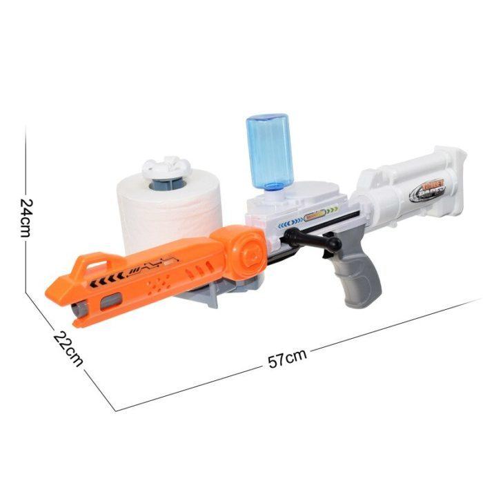 רובה יורה כדורי נייר טואלט רטובים