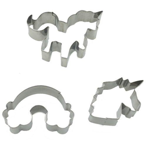 סט תבנית חיתוך לעוגיות בעיצוב חד־קרן וקשת בענן