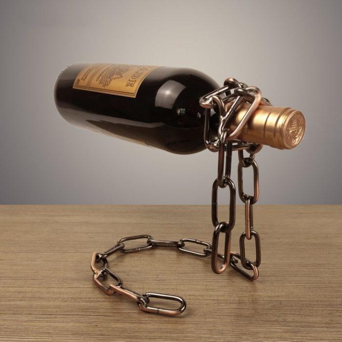 מחזיק בקבוק יין באוויר בצורת שרשרת ברזל
