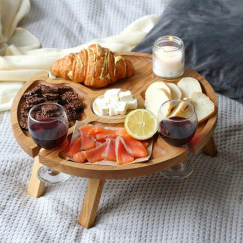מיני שולחן עץ נייד לגבינות ויין