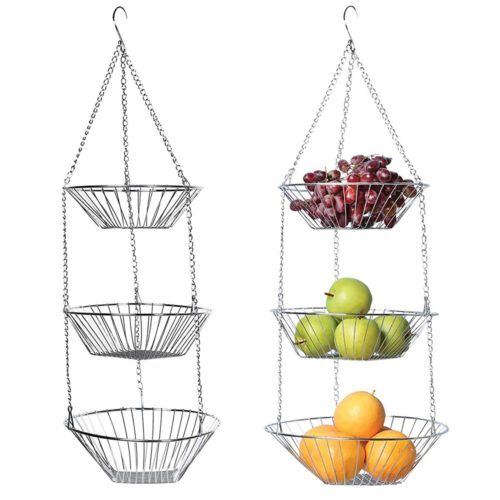 3 סלסלות נתלות לאחסון פירות וירקות
