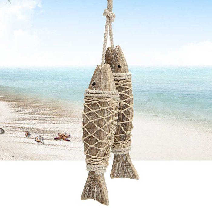 קישוט לבית דגים תלויים מעץ ברשת