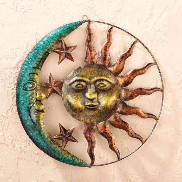 קישוט קיר מברזל בעיצוב שמש וירח