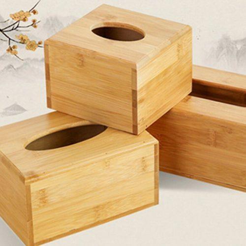 קופסת טישו מעץ במבוק