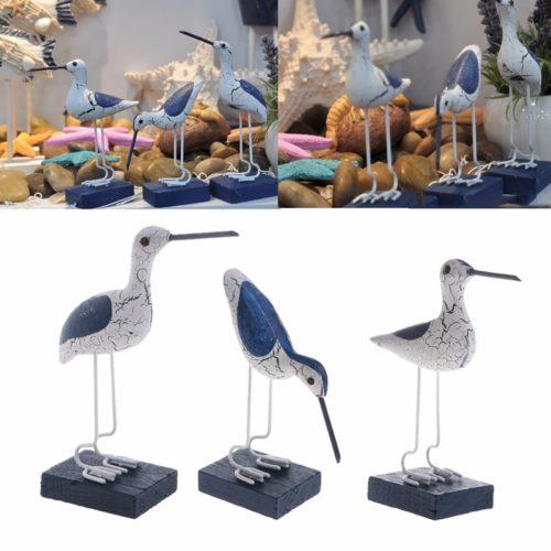 פסלוני ציפור דקורטיביים מעץ (3 יח')