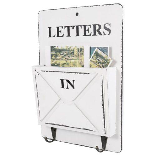 תיבת מכתבים מעוצבת מעץ עם ווים