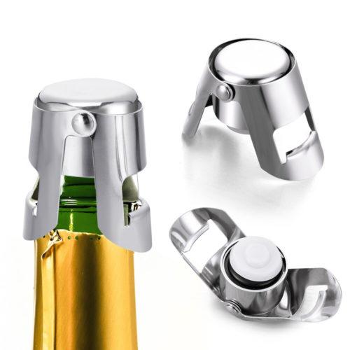 3 סוגרים רב פעמיים ממתכת לבקבוקי יין ושמפניה