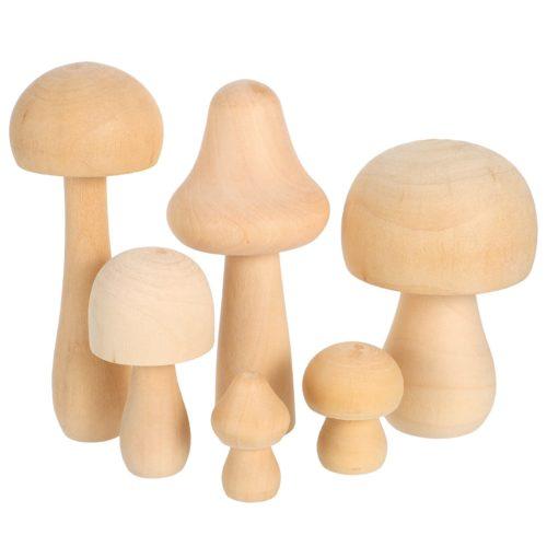 פסלונים מעץ בצורת פטריות (6 יח')